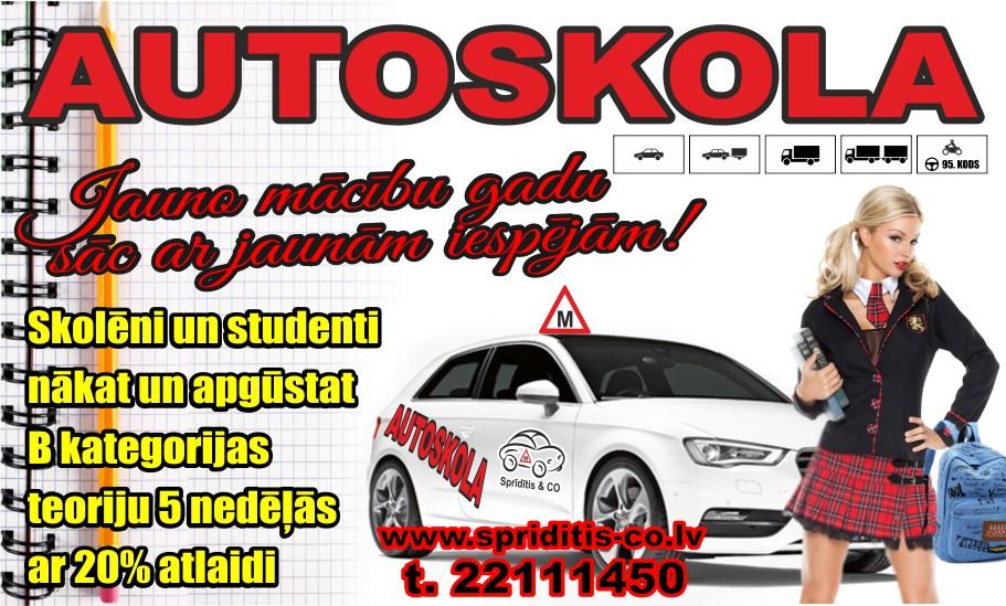 Autoskola Spriditis reklama